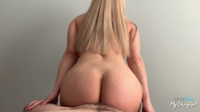 blonde with natural tits twerks on my cock and gives me titjob MyShinyGirl 6