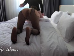 Cheating wife fucking in hotel while cuckold husband watches, she lets him cum as soon as the