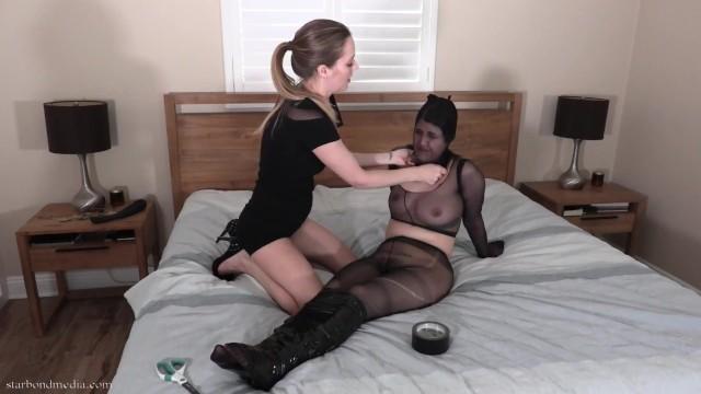Penelope Encased & Used - Lesbian Domination Tape Bondage Nylon Encasement TRAILER 1