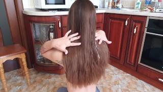 Cum on silky shiny hair Hair Fetish