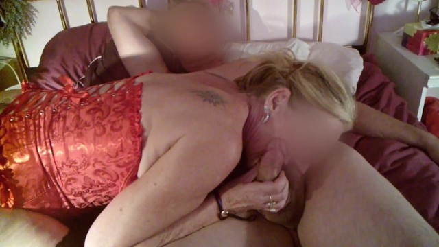 Granny BJ - Mature GILF dons Basque, Stockings and Heels for Grandson's Birthday Blowjob!
