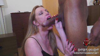 BBC gets sucked by a cum hungry milf in stockings