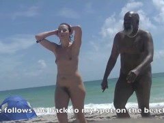 Eating Lunch and Orgasm From Remot Control Vibrator! I Tease Nude Beach Voyeur And Suck a BBC!!!