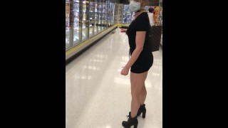 FOLLOWING STEP MOM AT GROCERY STORE IN REALLY SHORT SKIRT