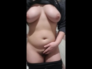 Slut Fucks Her Pussy In Public Restroom
