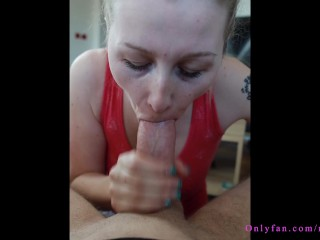 blonde gets giant cum in her mouth and has a problem =D