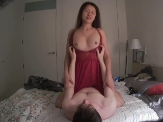 Rided by a Massive Butt Japanese Cowgirl in Red Dress followed by big cumshot on Body