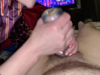 Pocket Pussy Handjob/Blowjob with Cum in Mouth Torture
