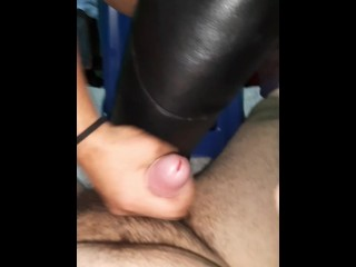 Slave is milked by Mistress in Otk Leather boots with bootjob ballbusting & handjob