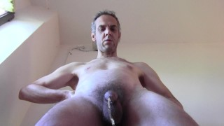 My hairy mature cock is not very big but on the landing of a public building it pisses well