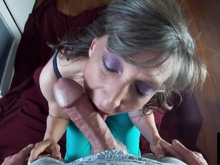 Cock gets juicy mouthful of cum...