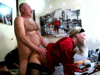 A cool Russian mature whore sucks two dicks and fucks like a spring cat, an abundant creampie!