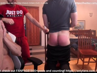 Spank with leather paddle and makes him moan...