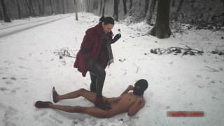 Mistress Luna - Boot Domination In The Freezing Snow (Ballbusting & CBT Trampling)