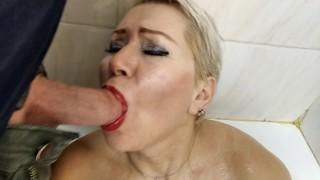 Big mature passion in a tight Moscow bathroom, shower masturbation, blowjob, cum on tits, closeup!