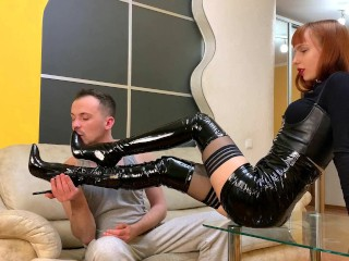 Foot femdom with mistress high heels and stockings...