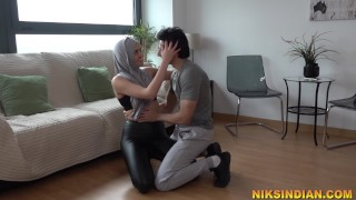 Innocent girl in Hijab seduced and fucked hard by gym trainer