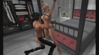 BDSM: Leather Bondage in Pantyhose