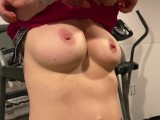 PETITE BLONDE WORKOUT SHOWING HER BIG BREASTS