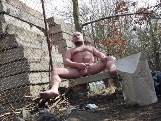Danistes hairy gay bear masturbates outdoor with plugged...
