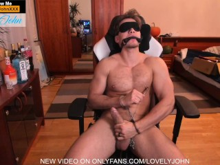 Hand cuffed and blind folded cock has to...