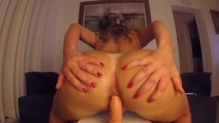 Hot MILF with big ass twerking and riding a dildo inside her asshole