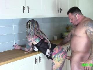 Big dick tattooed stud Seth Strong fucks big ass tattooed alt babe after she sucks and rims him