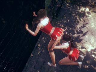 Cute asian cheerleader licking friend ass...