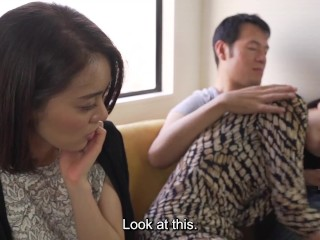 Japanese family roleplay mother blowjob in front of step daughter