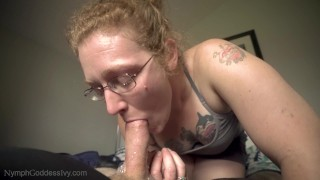 Redhead MILF Ivy gives a wake up sloppy blowjob and swallows cum