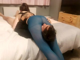 Headscissor and facesitting in pantyhose! A night between my thighs and your face under my ass!!