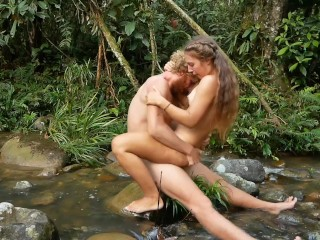 Hot girl gets fucked by a viking in the middle of a deep jungle river