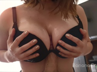 Titfuck from my StepSis, I Cum on her Huge Tits