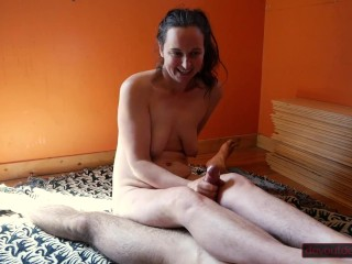 Big Fountains of Squirt From Hairy Pussy Interrupt Handjob, Then He Cums Hard