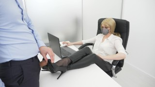 Office lady gives her colleague a footjob blowjob and rimjob! He cums on her gorgeous legs