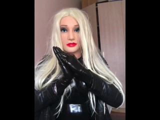 Silicone Barbie Sex Doll in Latex and Leather Coat