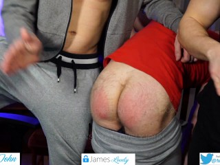 Spank hairy bears naked ass nice and red...