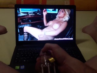 Men in chastity he watches handjob penis...
