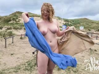 Risky public outdoor flashing & fucking my dildo on the beach