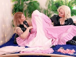 Arya Grander, FemDom POV video of 2 Dominatrix in fetish clothes, sissy education training