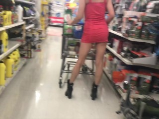 Pint sized milf with big calves muscular legs in Walmart no panties NUDE PUBLIC