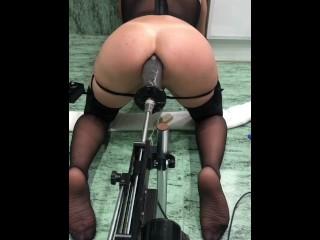 sasha gaucha sex machine Big black  cock ride BBC vibrator