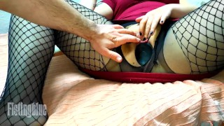Surprise a friend w big plug inside me and he gape and fist me - preview