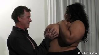 Husband cheats with busty ebony plumper