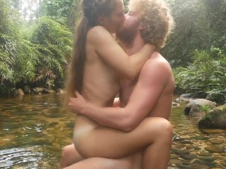 Horny couple goes off the trail, goes wild and has passionate sex in the jungle