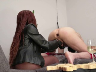 Beautiful mistress trains slave for anal...