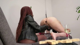 Beautiful mistress trains slave for anal