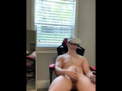 Looks up vr porn then jerks off to big load on myself