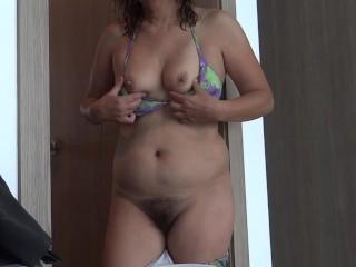 Hairy mom vacation on display masturbates urine hairy...