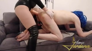 Stupid chastity in bue wig for Mistress- full clip on my Onlyfans link in bio)